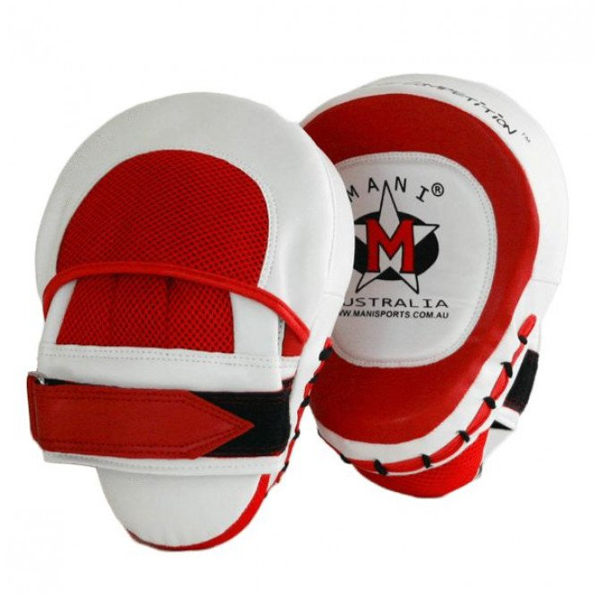 Leather Punch Hit Focus Curved Training Boxing Red/White Pad