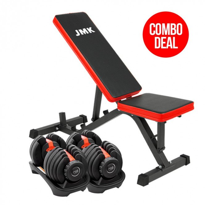 2x Powertrain 24kg Adjustable Dumbbell Home Gym w/ Exercise Bench