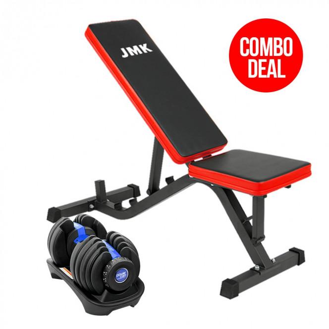 Powertrain 24kg Adjustable Dumbbell Home Gym Exercise Bench Blue