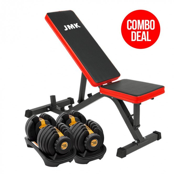 Powertrain 24kg Adjustable Dumbbell Home Gym Exercise Bench Gold