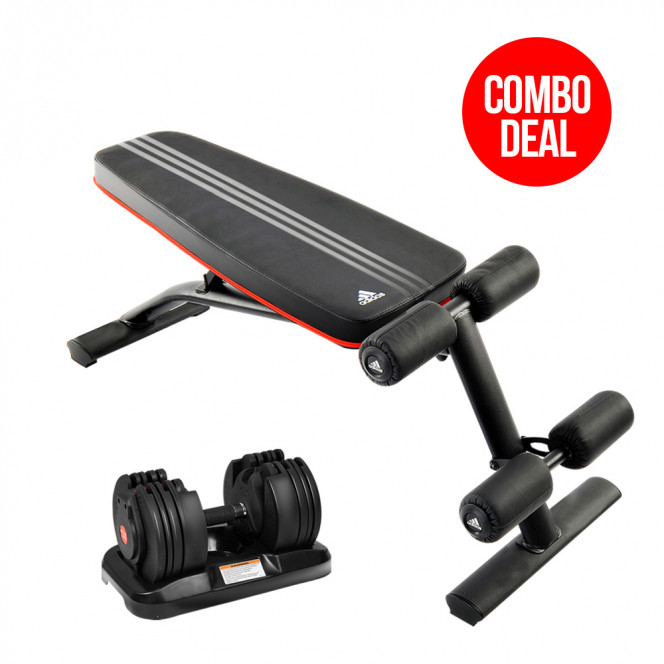 20kg Powertrain Adjustable Home Gym Dumbbell w/ 10230 Adidas Bench