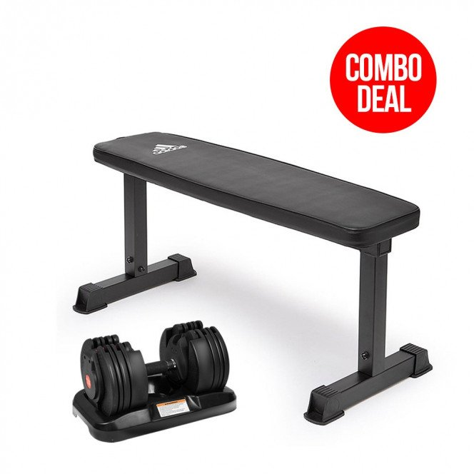 20kg Powertrain Adjustable Home Gym Dumbbell w/ 10437 Adidas Bench
