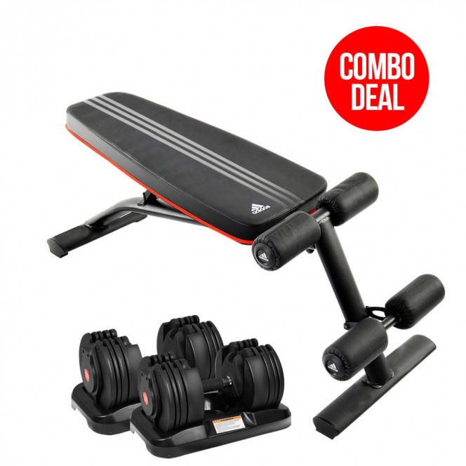 2x 20kg Powertrain Adjustable Home Gym Dumbbells w/ 10230 Adidas Bench