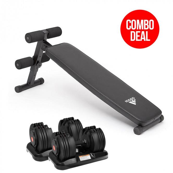 2x 20kg Powertrain Adjustable Home Gym Dumbbells w/ 10433 Adidas Bench