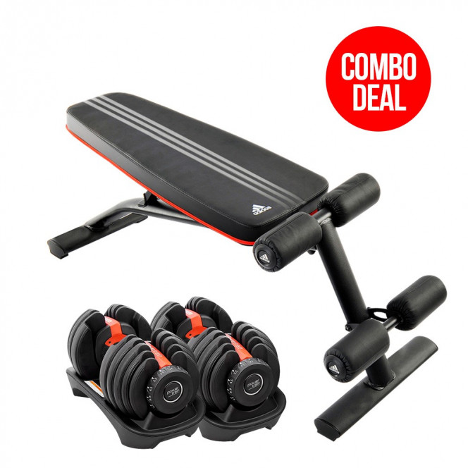 2x Powertrain 24kg Adjustable Dumbbells Home Gym w/ Adidas Bench 10230