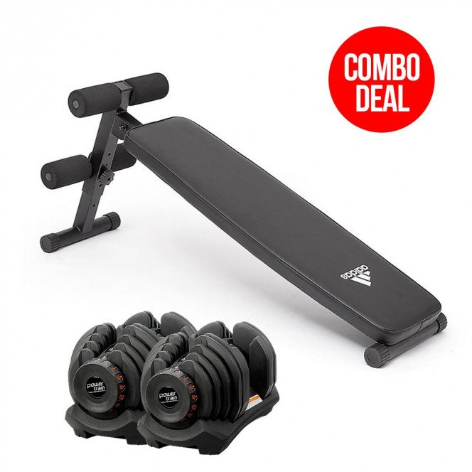 2x 40kg Powertrain Adjustable Dumbbells with Adidas Bench 10433