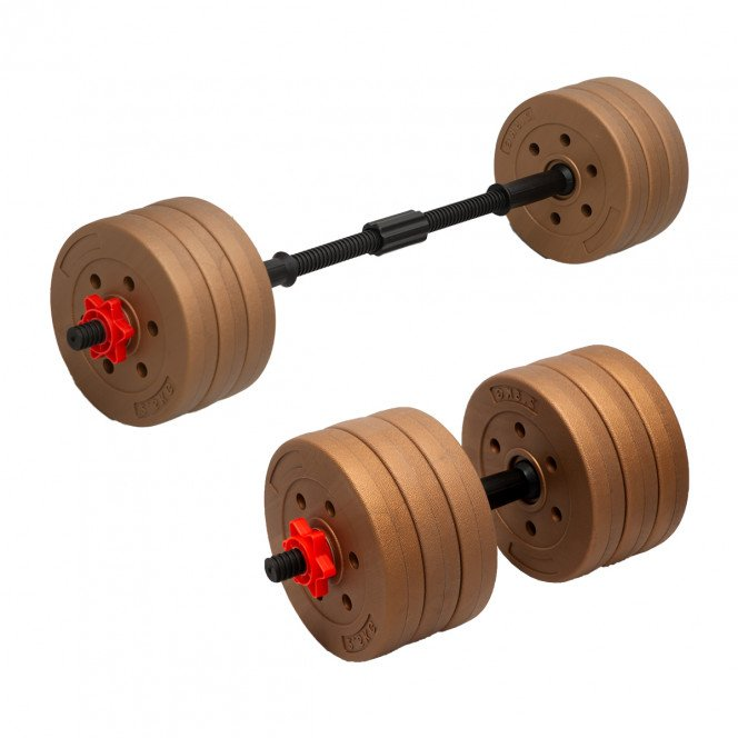 Powertrain 32kg Home Gym Dumbbell Barbell Set Exercise Weights Gold
