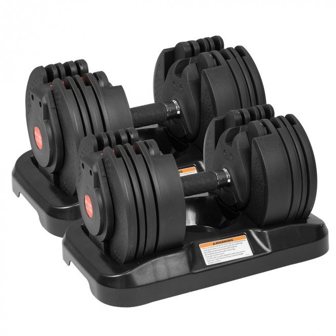 2x 20kg Powertrain Adjustable Home Gym Dumbbells