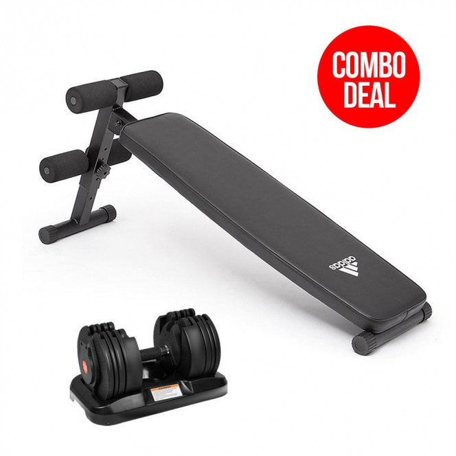 20kg Powertrain Adjustable Home Gym Dumbbell w/ 10433 Adidas Bench