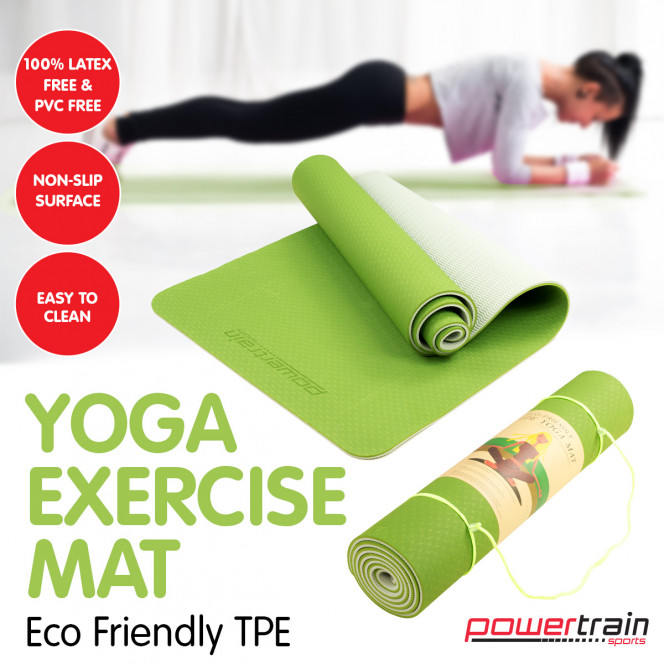 Powertrain Eco-Friendly TPE Pilates Exercise Yoga Mat 8mm - Green Image 3 image 3