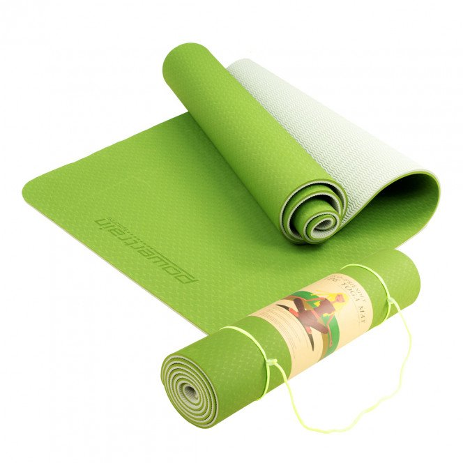 Powertrain Eco-Friendly TPE Pilates Exercise Yoga Mat 8mm - Green