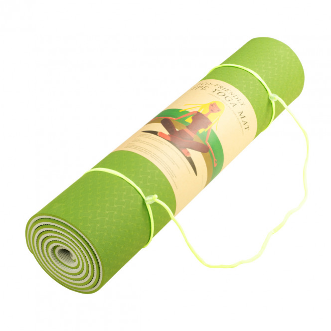 Powertrain Eco-Friendly TPE Pilates Exercise Yoga Mat 8mm - Green Image 4 image 4