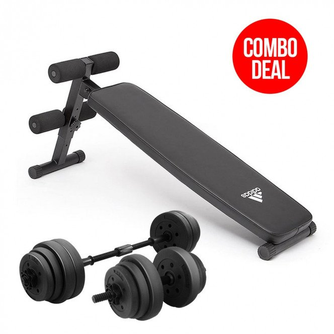 Powertrain 20kg Dumbbell Home w/ Adjustable Adidas 10433 Abs Bench