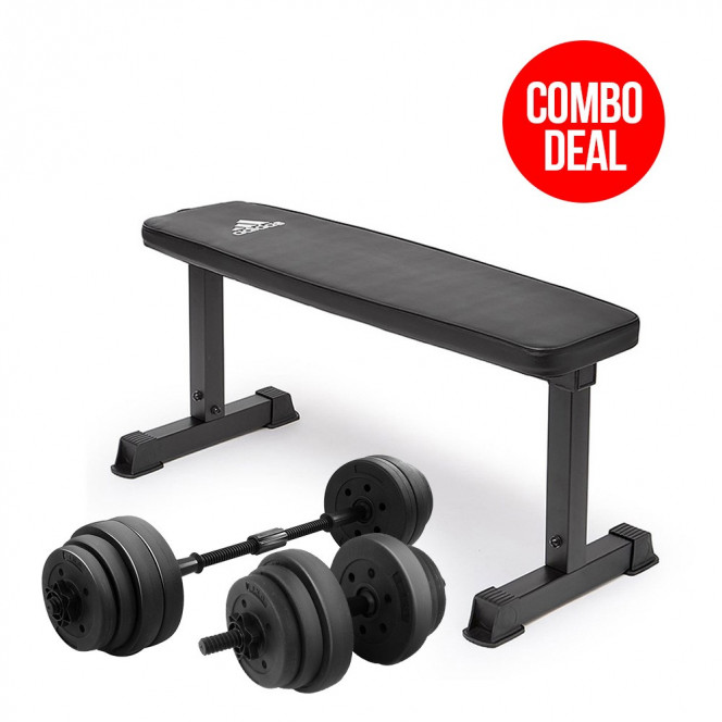 Powertrain 20kg Dumbbell Home w/ Adjustable Adidas 10437 Bench Weights