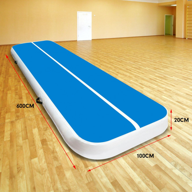 Powertrain 6m x 1m Air Track Inflatable Tumbling Gymnastics Mat - Blue White Image 7 image 7