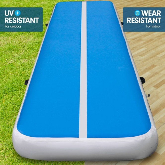 Powertrain 6m x 1m Air Track Inflatable Tumbling Gymnastics Mat - Blue White Image 5 image 5