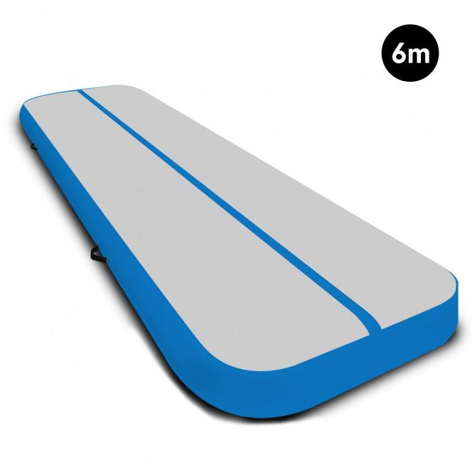 Powertrain 6m x 2m Airtrack Tumbling Mat Gymnastics Exercise Grey Blue