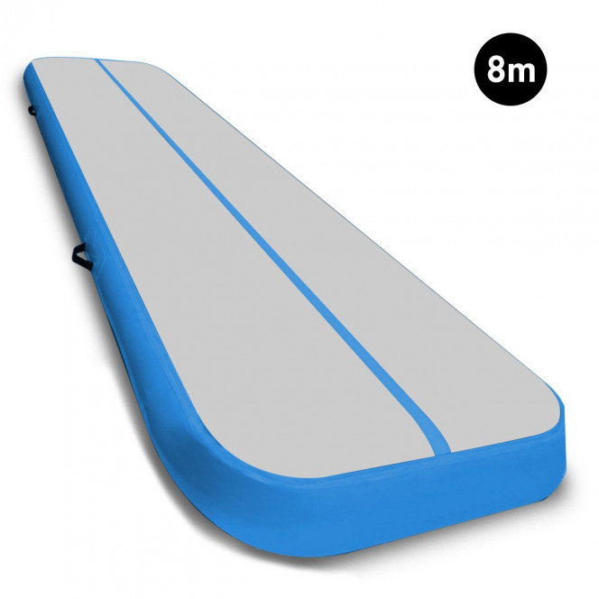 Powertrain 8m Airtrack Tumbling Mat Gymnastics Exercise Grey Blue