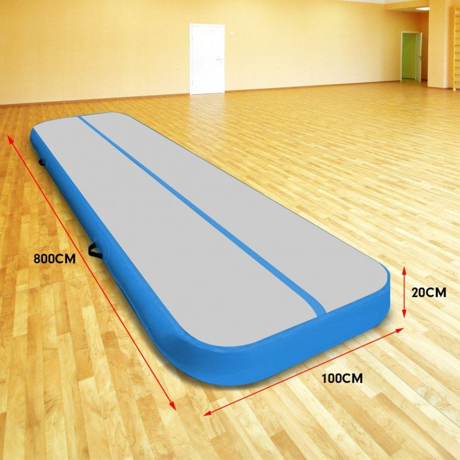 Powertrain 8m x 1m Air Track Inflatable Gymnastics Mat Tumbling - Grey Blue Image 7 image 7