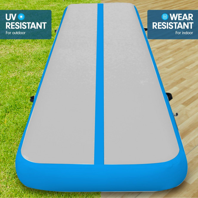 Powertrain 8m x 1m Air Track Inflatable Gymnastics Mat Tumbling - Grey Blue Image 5 image 5