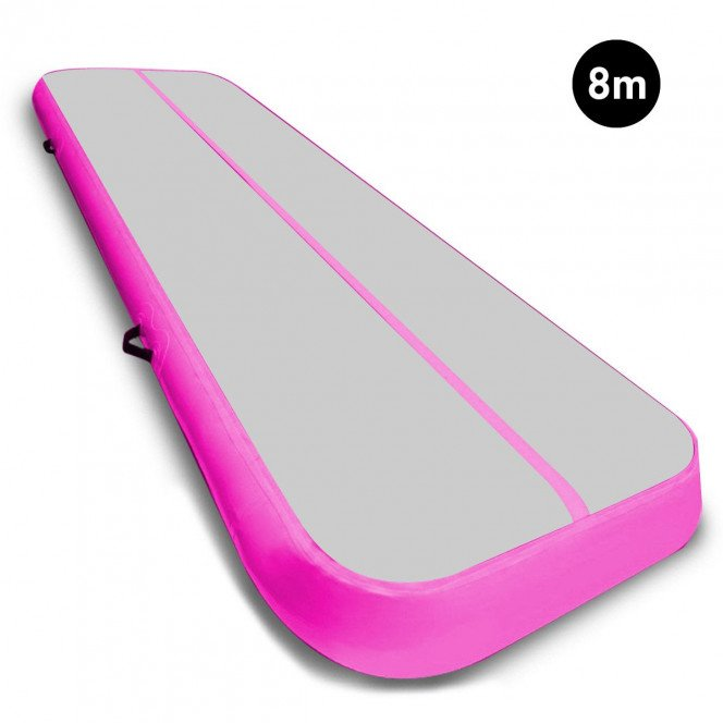 Powertrain 8m Airtrack Tumbling Mat Gymnastics Exercise Grey Pink