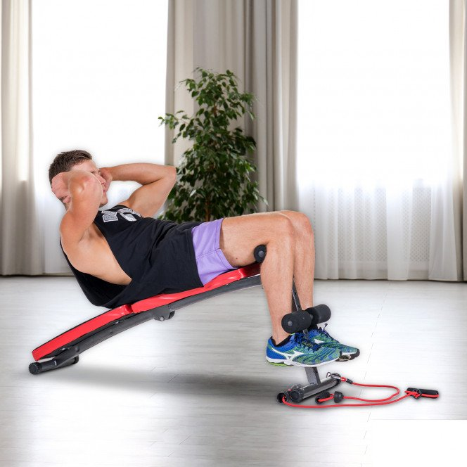 Inclined Sit up bench with Resistance bands Image 2 image 2