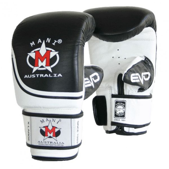 Evo Leather Boxing Punching Gloves Bag Mitts Gym - Black/White