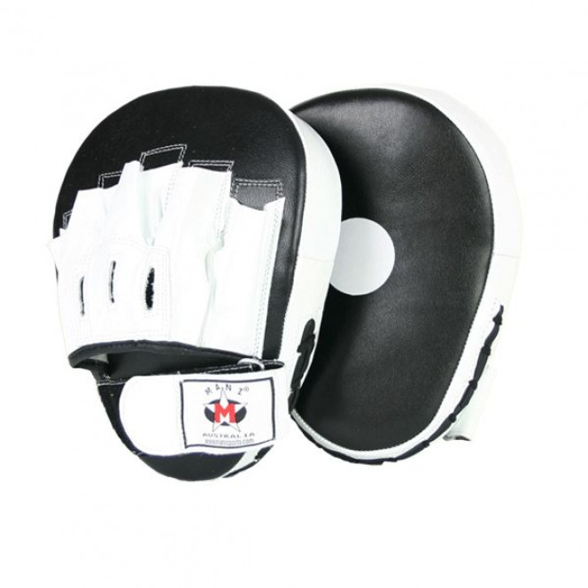 Leather Punch Hit Focus Curved Training Boxing Black/White Pads
