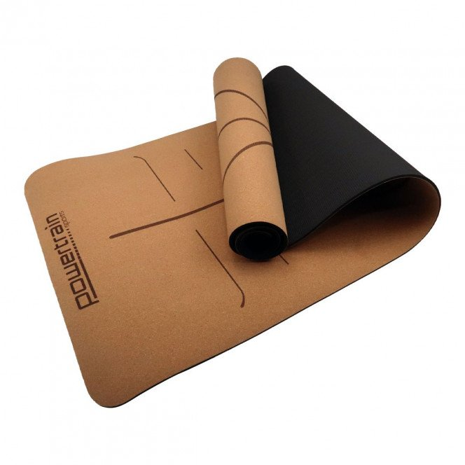 Powertrain Cork Yoga Mat with Carry Straps Home Gym Pilate Body Line