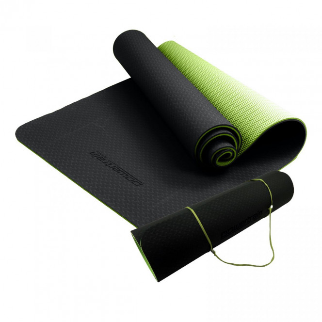 Powertrain Eco Friendly TPE Yoga Exercise Pilates Mat 8mm- Black Green