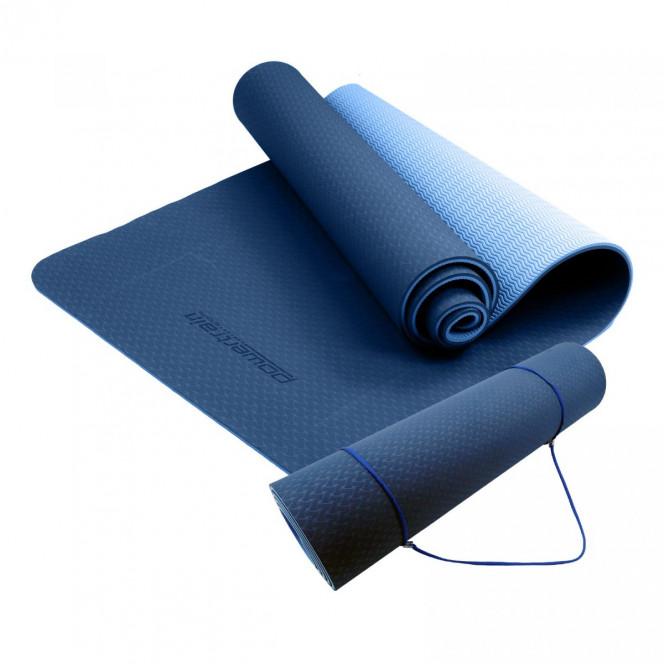 Powertrain Eco Friendly TPE Yoga Exercise Pilates Mat 8mm - Dark Blue