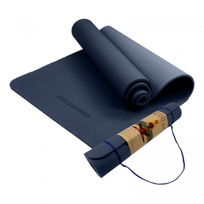 Powertrain Eco Friendly TPE Yoga Exercise Pilates Mat 6mm - Dark Blue