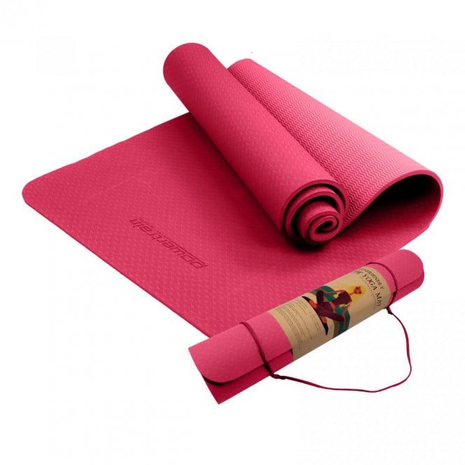Powertrain Eco Friendly TPE Yoga Exercise Pilates Mat 6mm Rose Pink